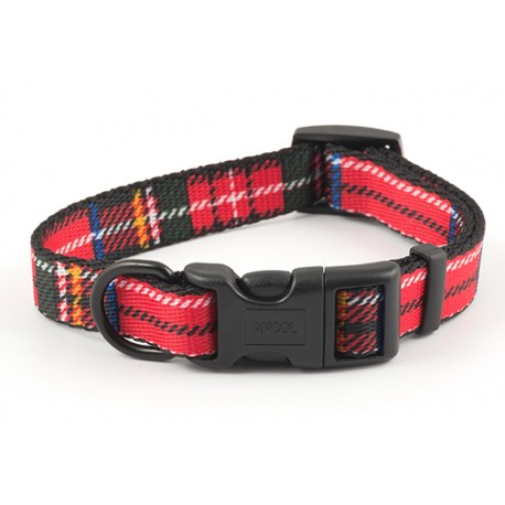 Red Tartan Dog Collar - By Ancol