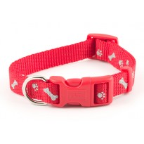 Reflective Paw n Bone Cherry Red Dog Collar - By Ancol