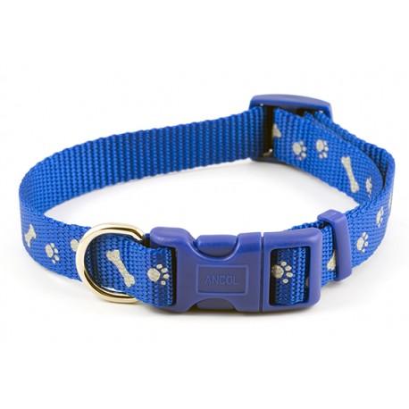 Reflective Paw n Bone Bright Blue dog Collar - By Ancol