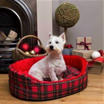 Luxury Red Tartan Dog Bed Superbed