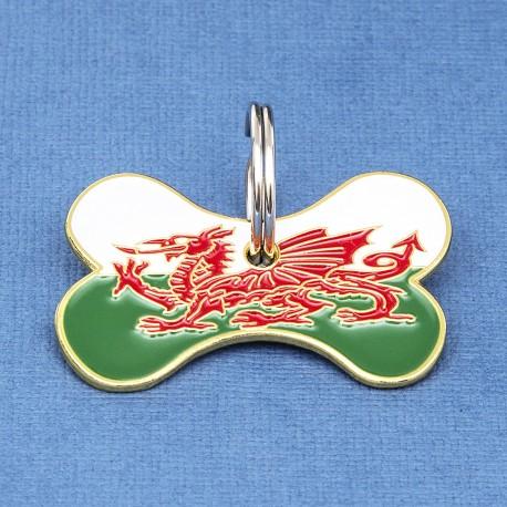 Welsh Flag Bone Pet ID Tag