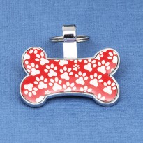 Red Bone Pet Tag Paw Print