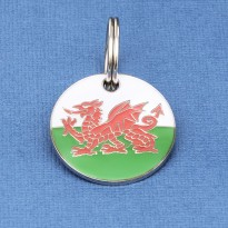 Welsh Flag Round Pet Tag