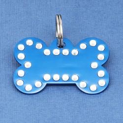 Crystal Bone Dog ID Tag Blue