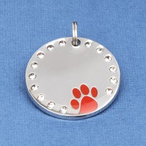 Crystal Paw Pet ID Tag Red