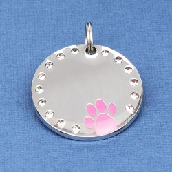 Crystal Paw Pet ID Tag Pink