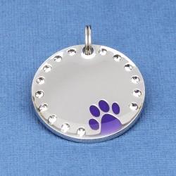 Crystal Paw Pet ID Tag Purple