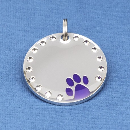 Crystal Paw Pet ID Tag Purple