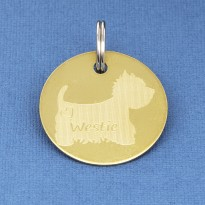 Brass West Highland Terrier ID Tag