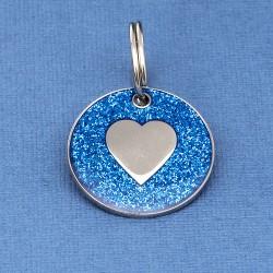 Blue Glitter Heart Id Tag