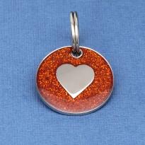 Red Glitter Heart Id Tag
