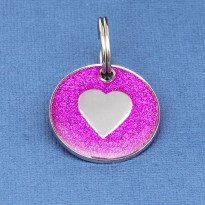 Pink Glitter Heart Pet Id Tag