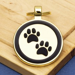 Gold Paw Print Dog ID Tag