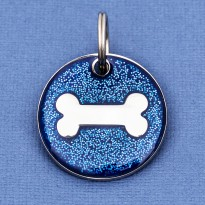 Blue Glitter Bone Dog Id Tag - Round