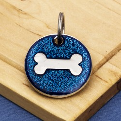 Blue Glitter Bone Dog Id Tag