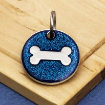Blue Glitter Bone Dog Id Tag - Round