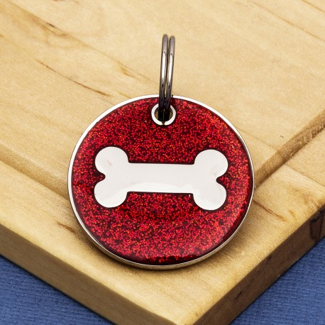 Red Glitter Bone Dog Id Tag