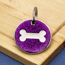 Purple Glitter Bone Dog Id Tag