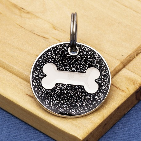 Black Glitter Bone Dog Id Tag