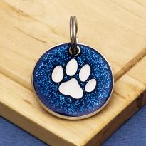 Blue Glitter Paw Dog Id Tag