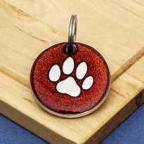 Red Glitter Paw Dog Id Tag