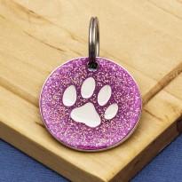Pink Glitter Paw Dog Id Tag
