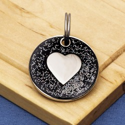 Black Glitter Bone Pet Id Tag