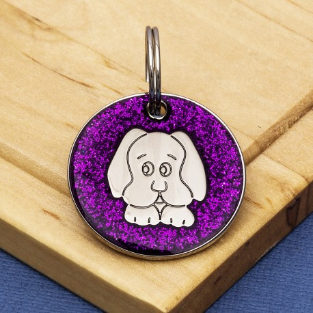 Purple Glitter Dog Id Tag