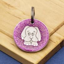 Pink Glitter Dog Id Tag