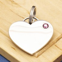 Crystal Heart Dog ID Tag