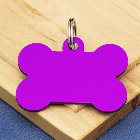 Purple Large Bone Dog ID Tag Double Sided