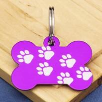 Purple Paw Bone Dog ID Tag