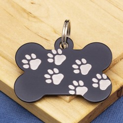 Black Paw Bone Dog ID Tag