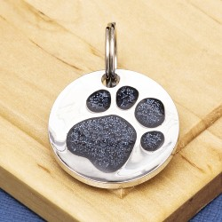 Black Glitter Paw Print Dog ID Tag