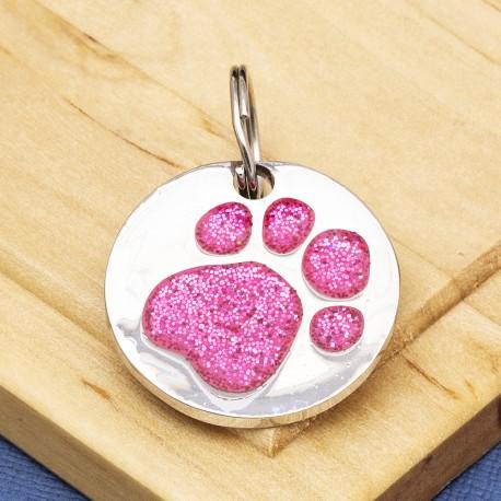 Pink Glitter Paw Print Dog ID Tag