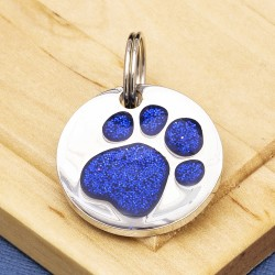 Blue Glitter Paw Print Dog ID Tag