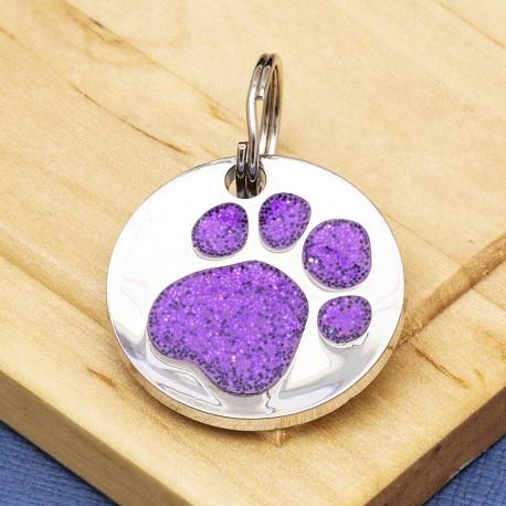 Purple Glitter Paw Print Dog ID Tag