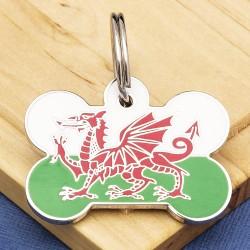 Welsh Flag Bone Pet ID Tag Large