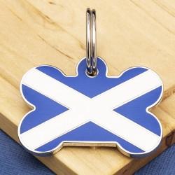 Scottish Flag Pet Tag Bone