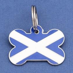 Scottish Flag Bone Pet ID Tag Large