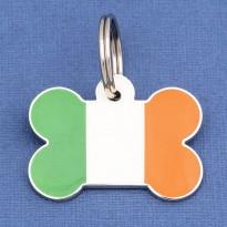 Irish Flag Bone Pet ID Tag Large