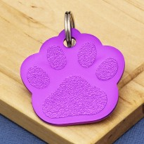 Purple Paw Pet ID Tag Large