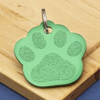 Green Paw Pet ID Tag Large