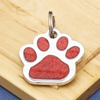 Glitter Paw Pet ID Tag Red