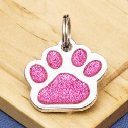 Glitter Paw Dog ID Tag Pink