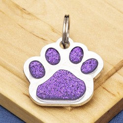 Glitter Paw Dog ID Tag Purple