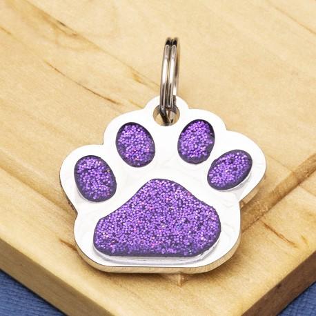 Glitter Paw Dog ID Tag Purple