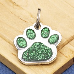 Glitter Paw Dog ID Tag Green
