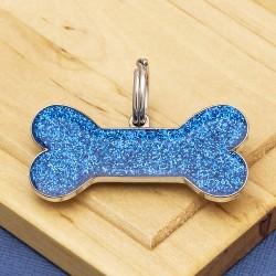 Blue Glitter Bone Dog ID Tag