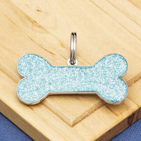 Sky Blue Glitter Bone Dog ID Tag